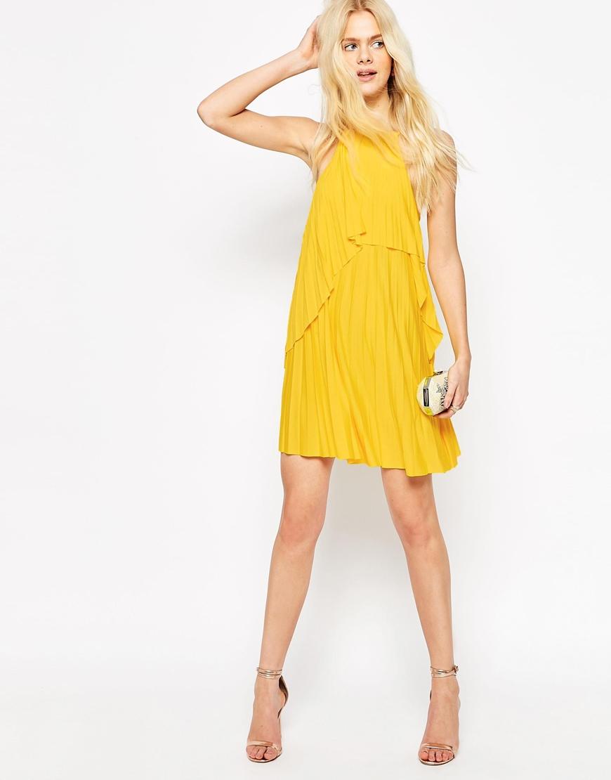 6ae2e5dceef Lyst - ASOS Ruffle Pleated Mini Dress in Yellow