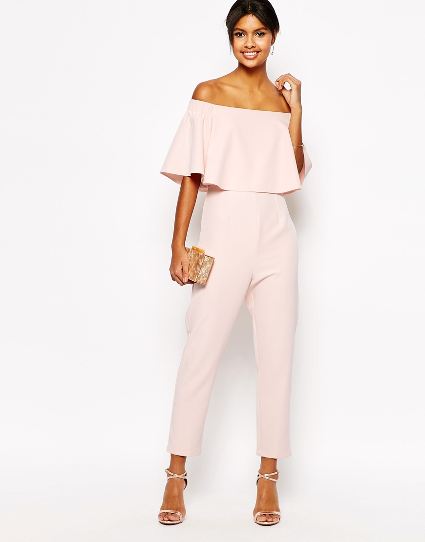 asos jumpsuit with ruffle bardot in pink lyst. Black Bedroom Furniture Sets. Home Design Ideas