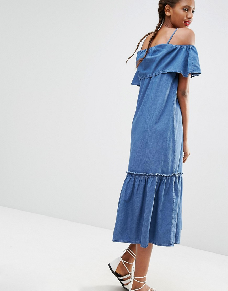 Asos Denim Maxi Dress With Off Shoulder And Ruffle Hem In