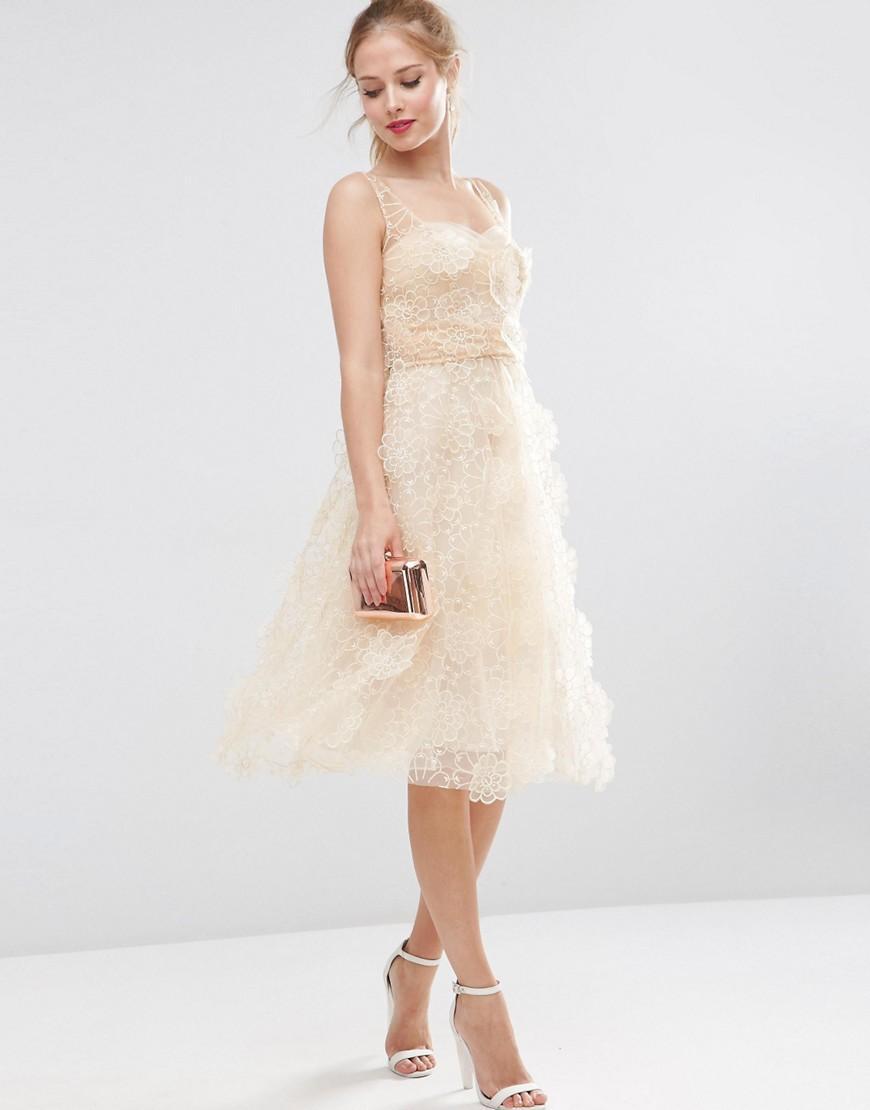 Asos salon 3d flower organza midi prom dress in natural lyst - Salon prestige organza ...