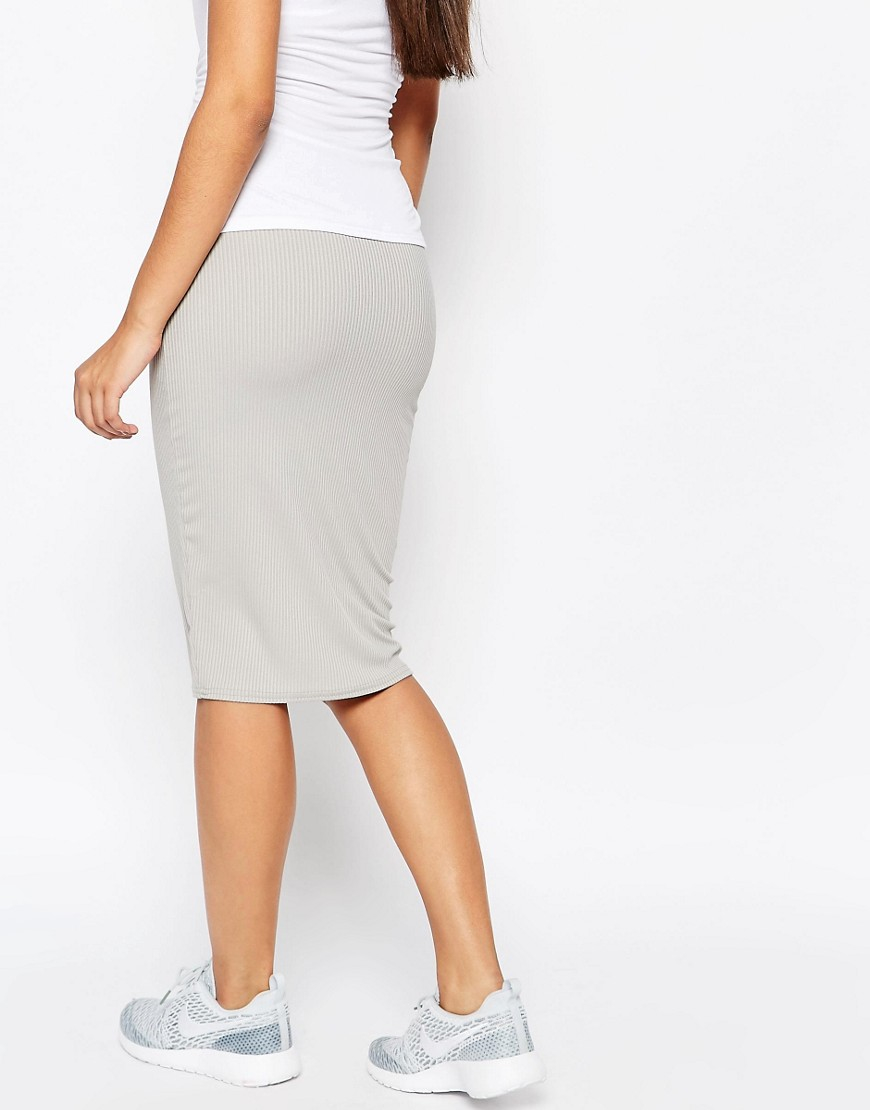 missguided ribbed pencil skirt in gray grey lyst