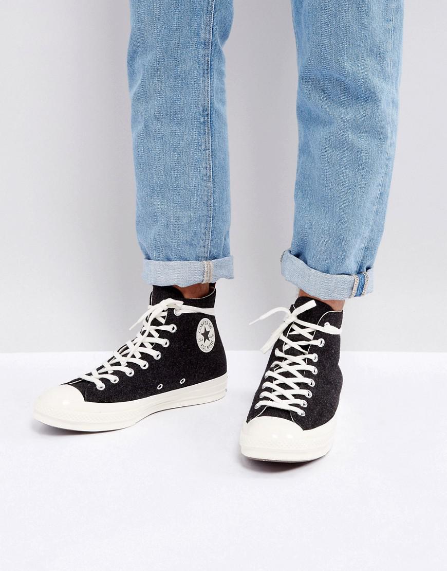Lyst - Converse Chuck Taylor All Star  70 Hi Felt Sneakers In Black ... 817862f92