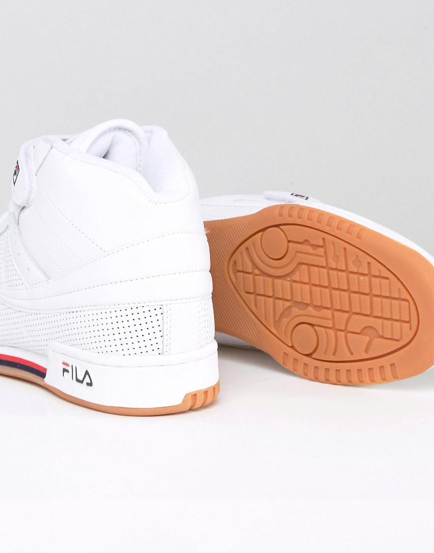 fd2b94ce48d2 Lyst - Fila Fila F13 Perforated Mid Trainers With Strap in White for Men