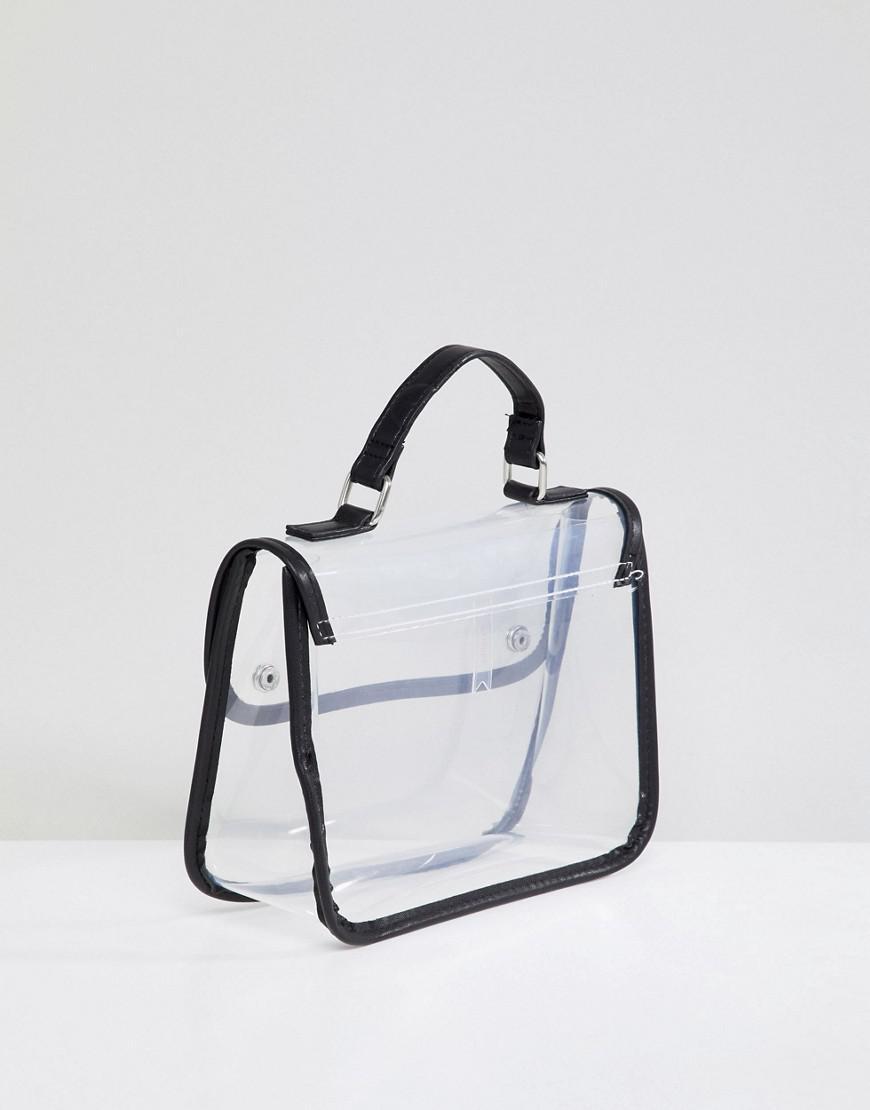 8257664fc5 Lyst - Bershka Clear Cross Body Bag With Black Trim in Black