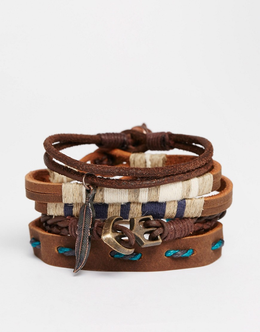 asos leather bracelet pack with blue in brown for lyst