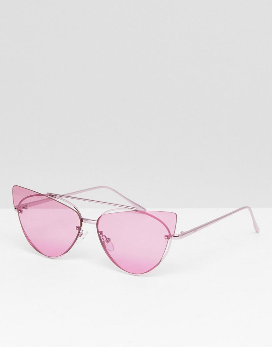 DESIGN Cat Eye Sunglasses With Laid On Extreme Lens - Lilac Asos TR52c5lfP