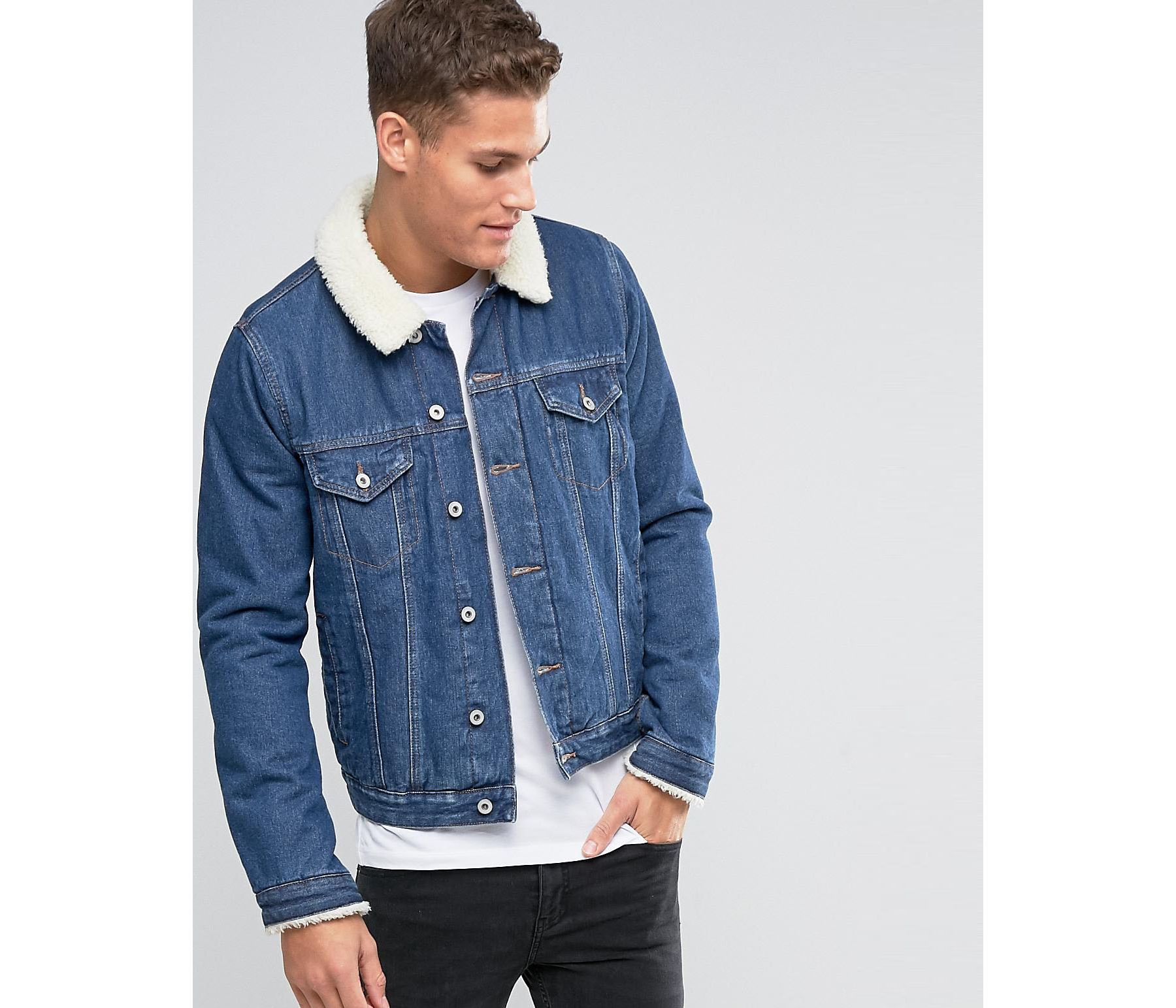 Tengfu Winter Mens Fur Collar Slim Denim Jacket $ 74 4 out of 5 stars 5. AvaCostume. Men's Winter Fleece Lined Fur Collar Denim Jacket Coats. from $ 43 99 Prime. out of 5 stars Lavnis. Men's Casual Denim Jacket Winter Slim Fit Button Down Jeans Coat. from $ 42 99 Prime. 5 out of 5 stars 1. Sun Lorence.