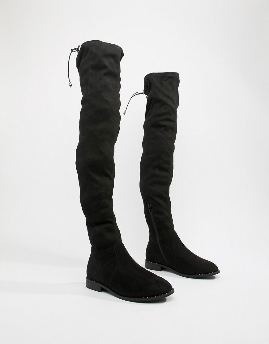 bff2b04bdb89 ASOS Asos Design Wide Fit Tall Kaska Flat Studded Over The Knee Boots in  Black - Lyst