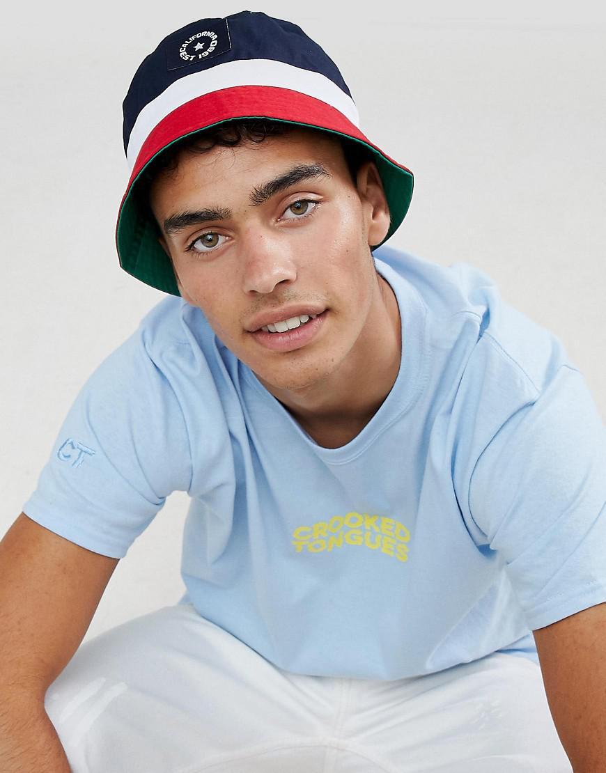 de9ab7e7 ASOS Bucket Hat In Colour Block Design in Blue for Men - Lyst