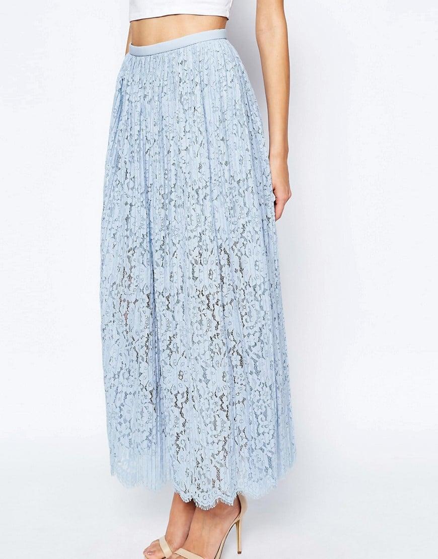 keepsake stand still lace maxi skirt in sky blue in blue