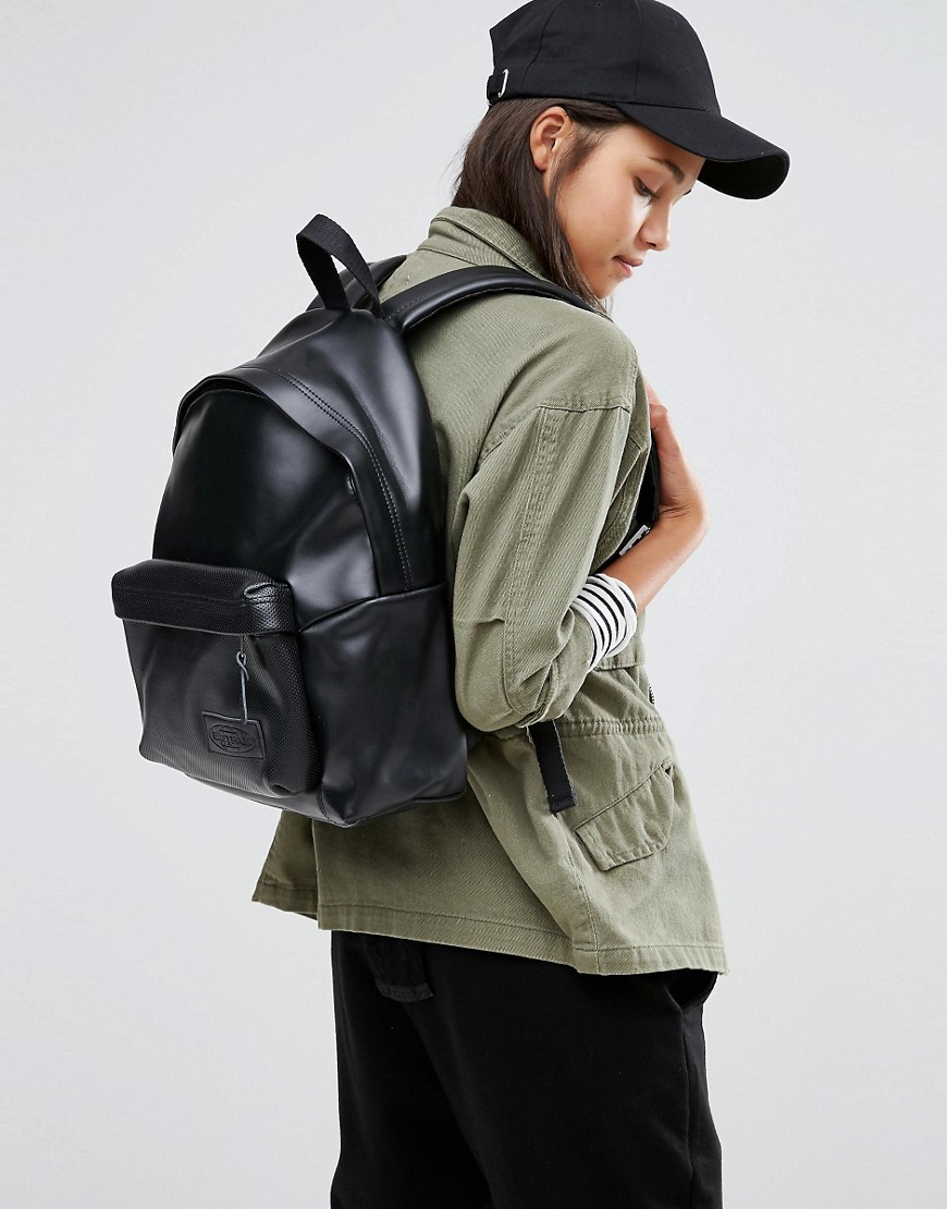 Leather Eastpak Backpack: Eastpak Leather Perforated Pocket Backpack