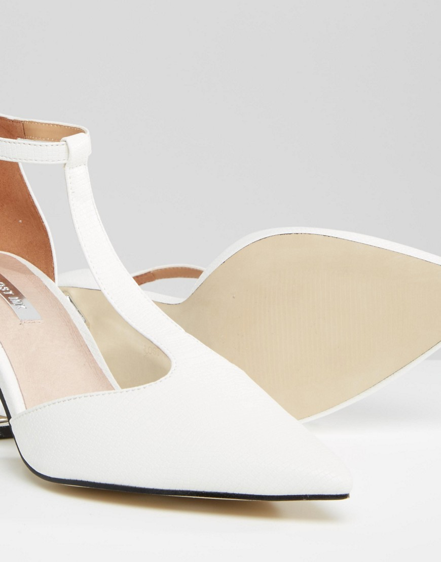 132646f7cac Lyst - Lost Ink Dame White Silver Mid Heeled Shoes in White