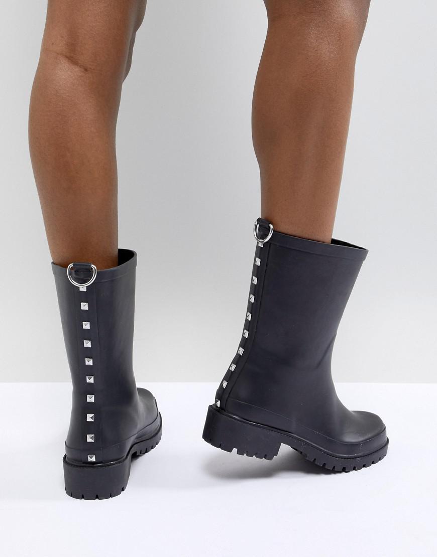 Gravier Design Asos - Noir Cloutés Bottes En Caoutchouc 2r5nc