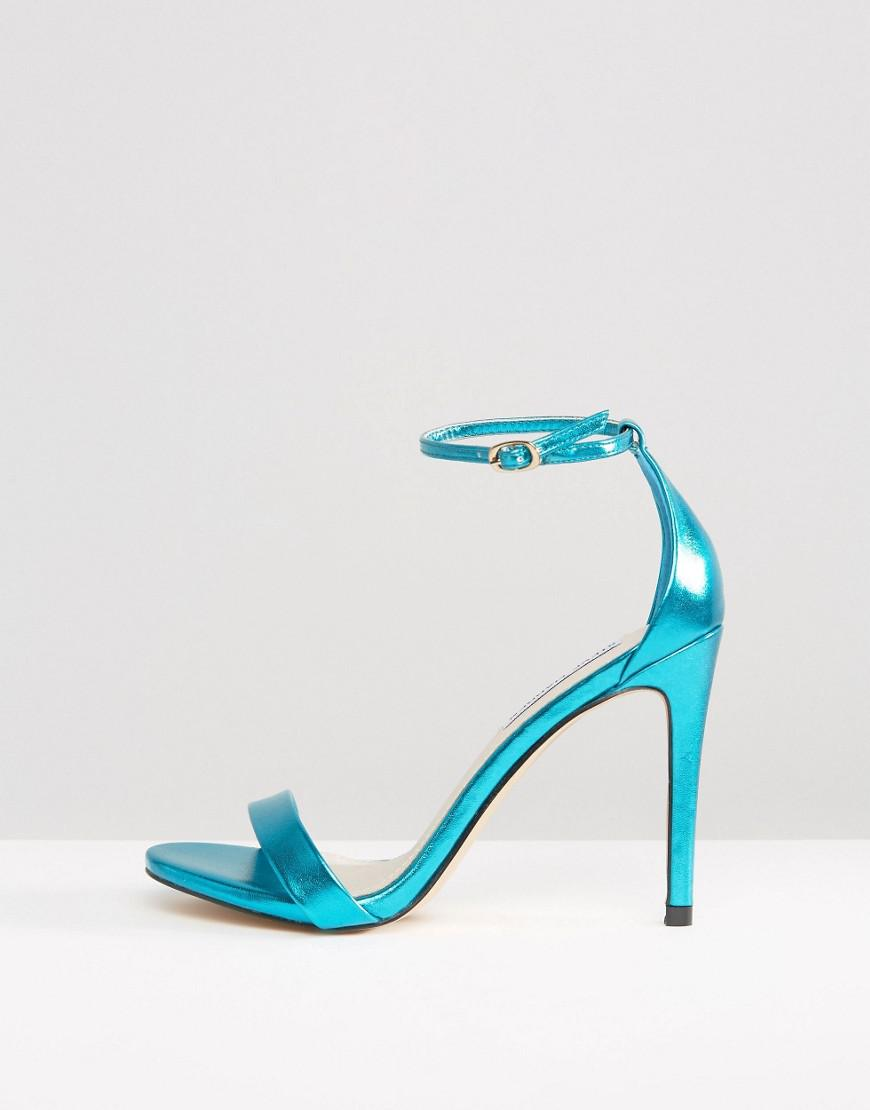 f552c187bf09 Lyst - Steve Madden Stecy Metallic Blue Barely There Heeled Sandals in Blue