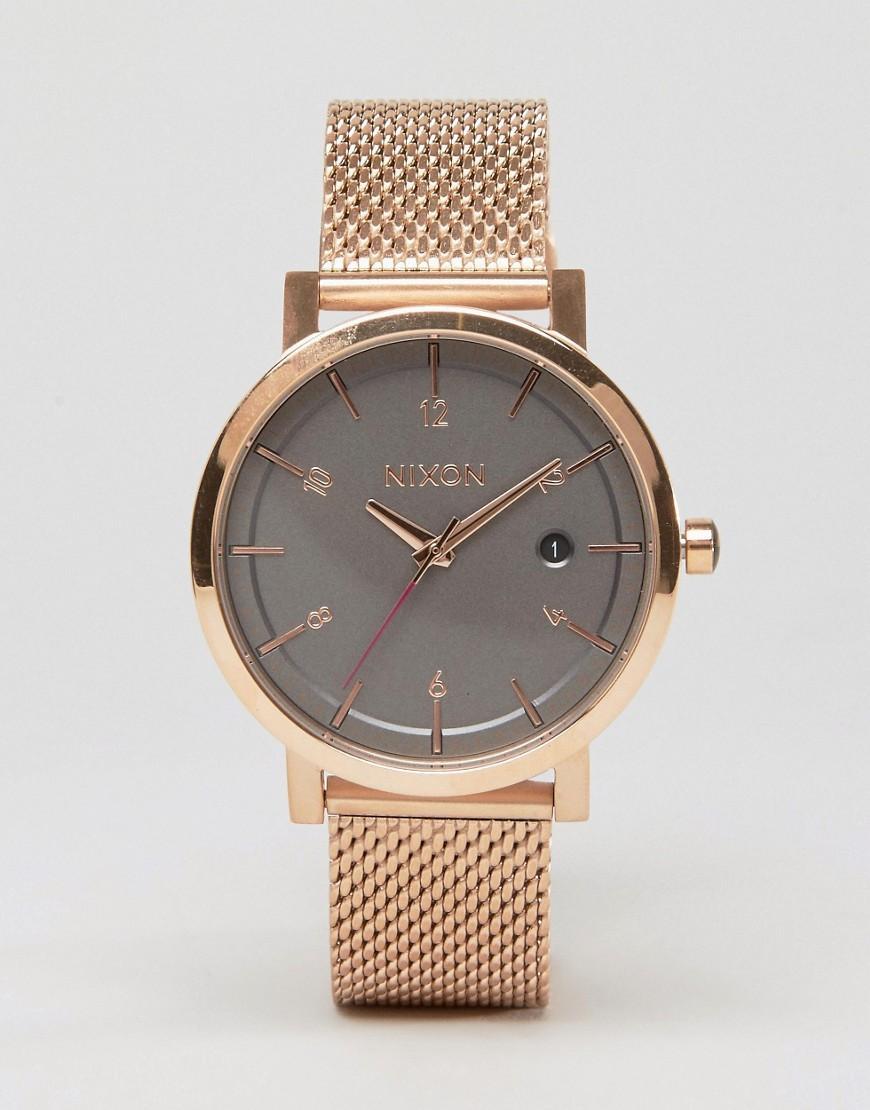 Nixon Rollo 38 Mesh Watch In Rose Gold in Metallic for Men ...