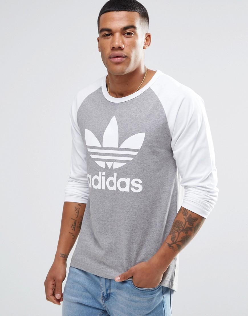 Lyst adidas Originals Trefoil camiseta Raglan manga larga ay7803 en