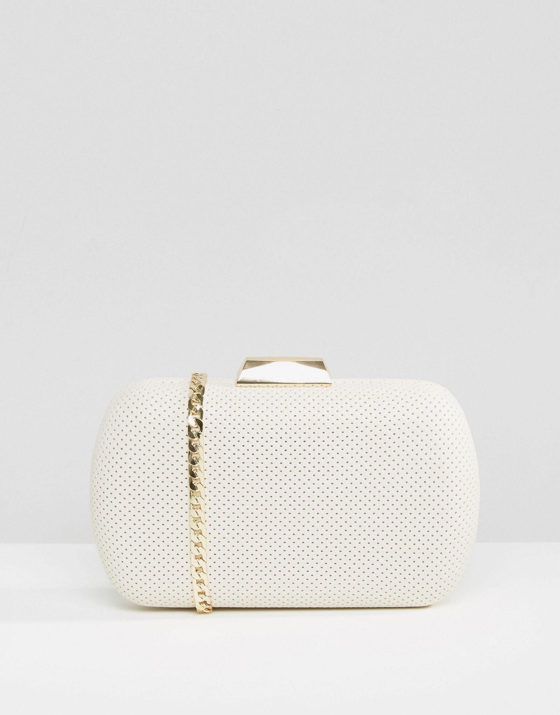 Lyst Claudia Canova Box Clutch Bag In White