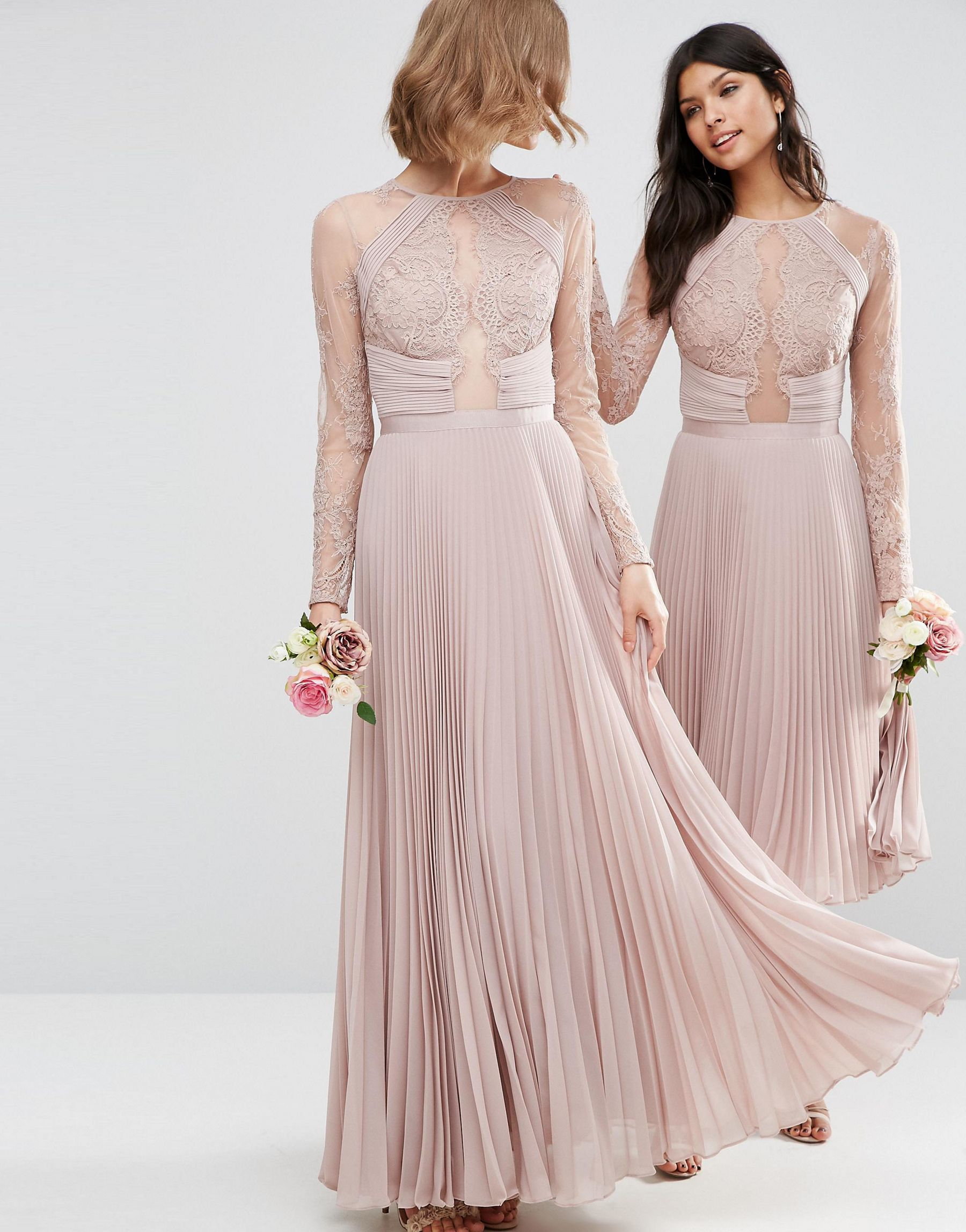 Lyst asos wedding pretty lace eyelash pleated maxi dress in pink gallery ombrellifo Choice Image