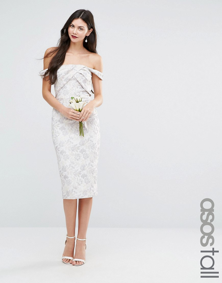 Asos tall wedding jacquard midi pencil dress in white lyst for Tall dresses for weddings