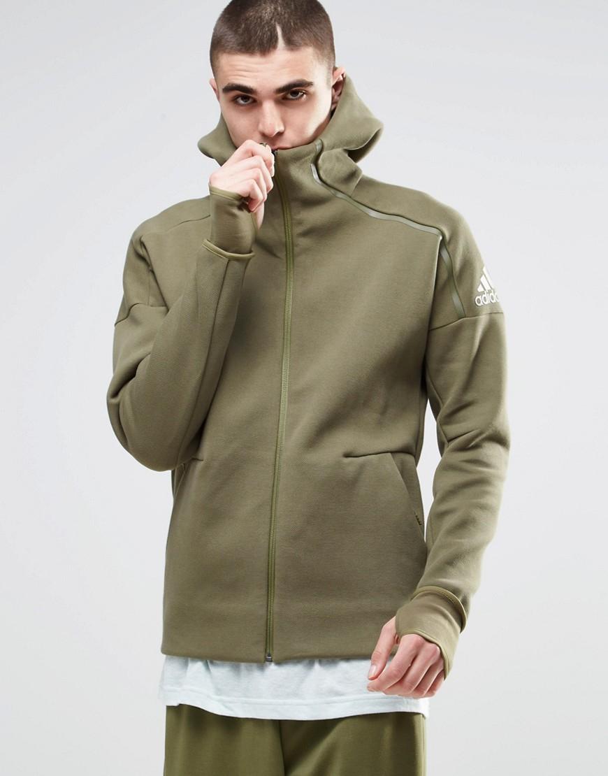 lyst adidas originals adidas zne hoodie b49256 in green. Black Bedroom Furniture Sets. Home Design Ideas