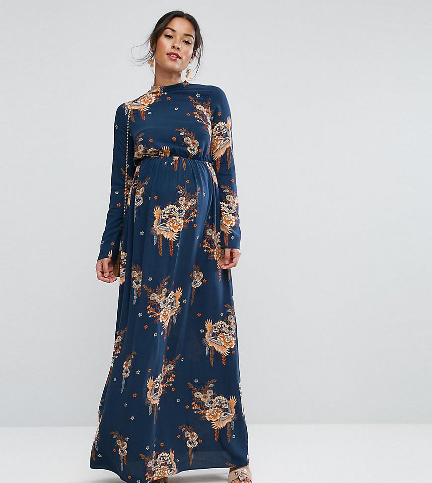 Lyst Asos Petite Maxi Dress With Long Sleeve In Chinoiserie Print