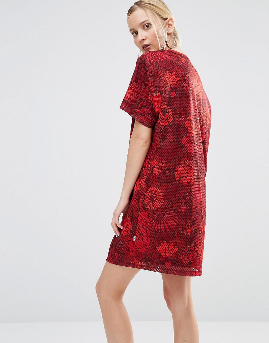 Adidas Originals Originals Floral T Shirt Dress With