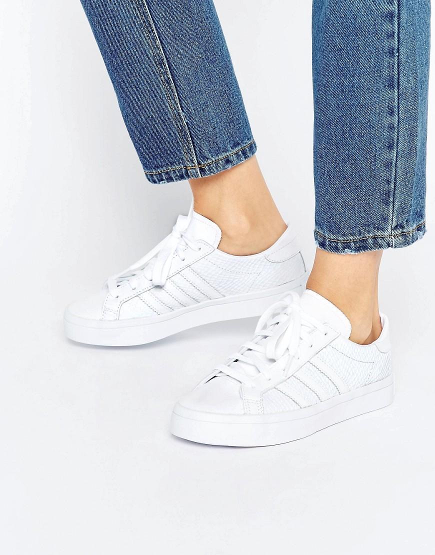 Lyst - adidas Originals Originals White Faux Snake Court Vantage ... da8949513