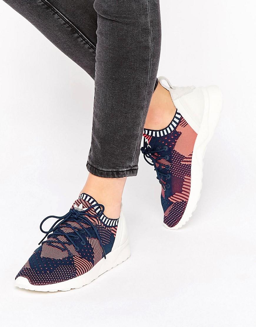 buy popular 9bbb7 fd69f Lyst - adidas Originals Originals Pink Print Primeknit Zx ...