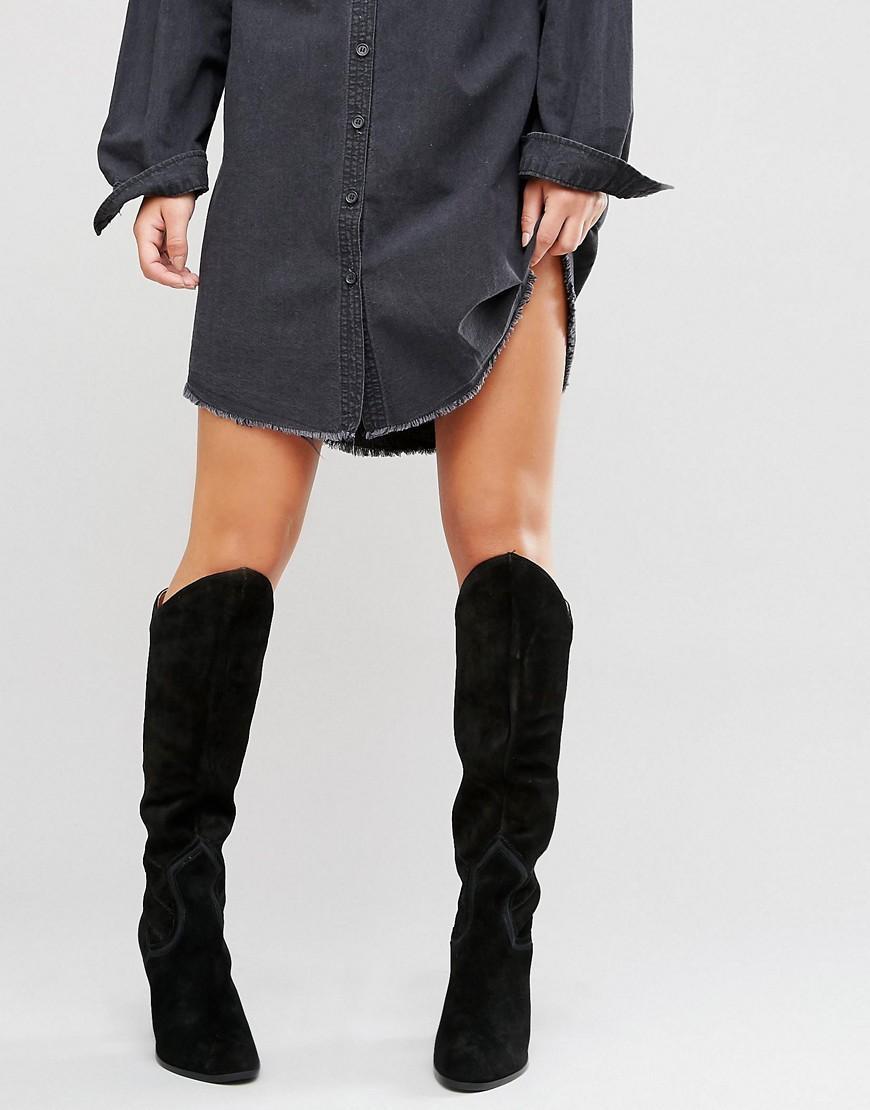 dacfdd4098a9 ALDO Norerwen Western Heeled Suede Knee Boots in Black - Lyst
