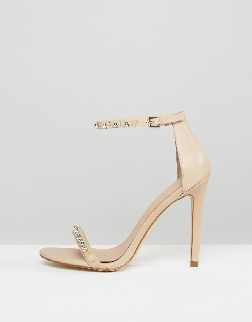 57e9fb00d18 Lyst - ALDO Mckinnons Embellished Barely There Leather Heeled ...