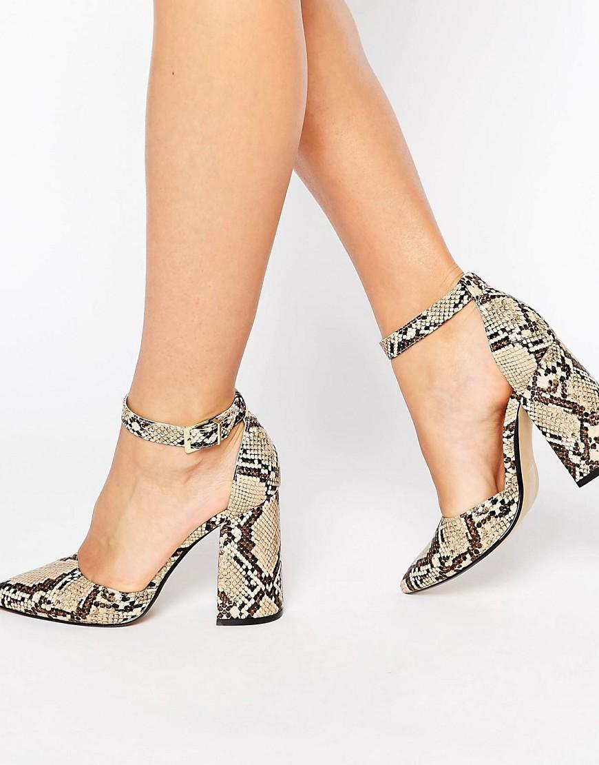 Office Sharp Ankle Strap Snake Print Leather Heeled Shoes