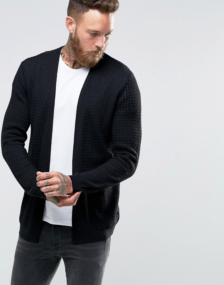 asos cable knit cardigan with rib detail in black for men lyst. Black Bedroom Furniture Sets. Home Design Ideas