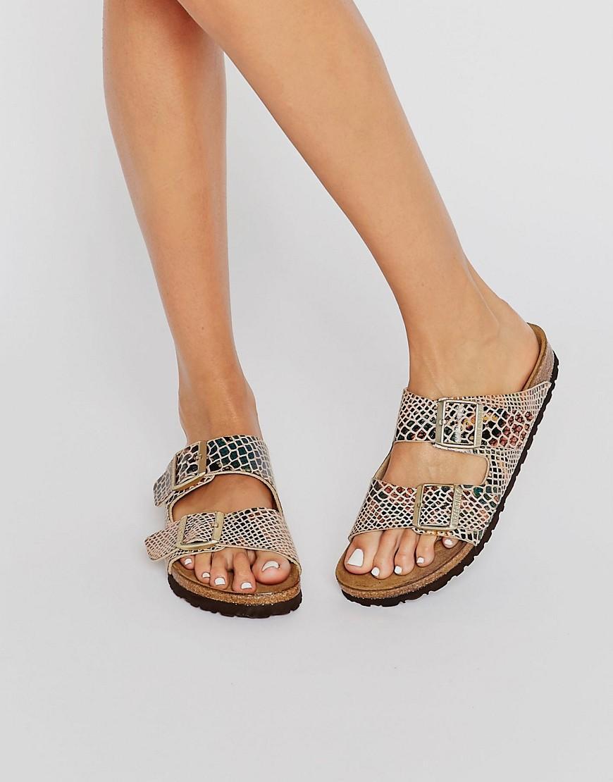 94f132bd353 Lyst - Birkenstock Arizona Shiny Snake Print Narrow Fit Flat Sandals ...