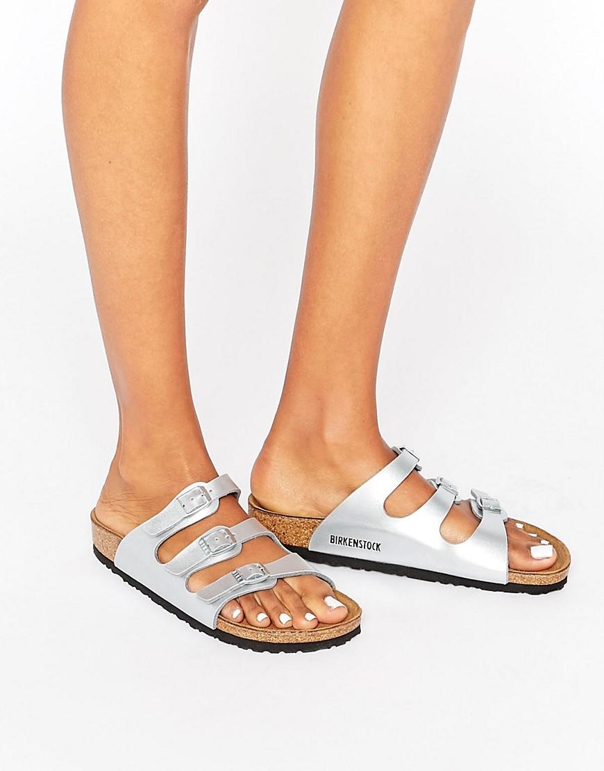 5aed0c617bcf Lyst - Birkenstock Florida Silver Narrow Fit Flat Sandals in Metallic