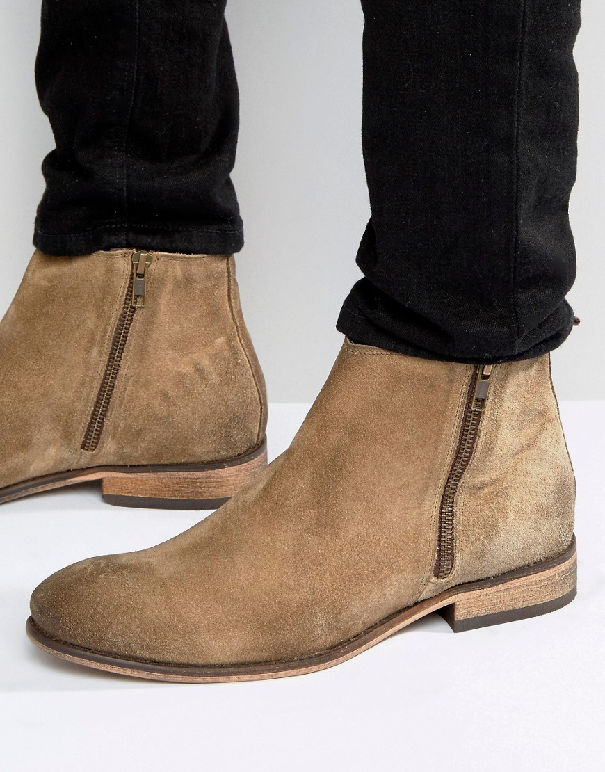 Asos Chelsea Boots In Stone Suede With Double Zip In Brown