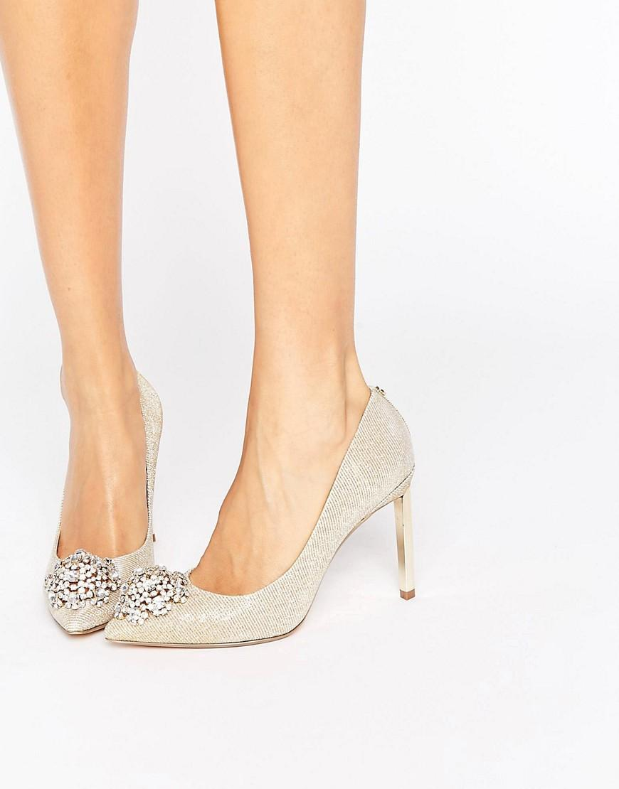 f0c16d4a9adf Ted Baker Peetch Gold Embellished Courts in Metallic - Lyst