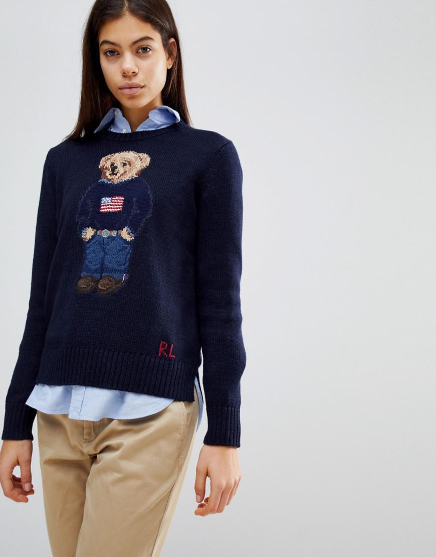 40cff21e6ec Lyst - Pull motif ours en peluche Polo Ralph Lauren en coloris Bleu