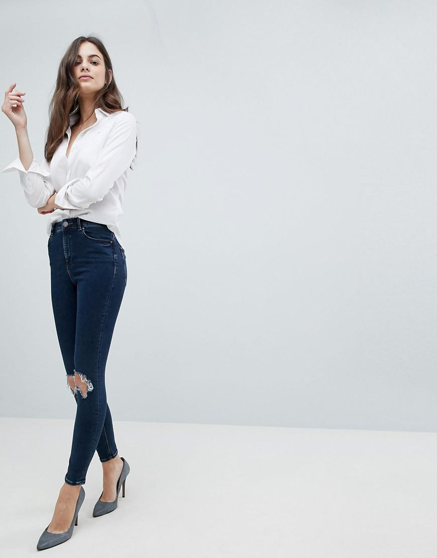 Best Seller Sale Online Clearance Store Online DESIGN Ridley high waist skinny jeans in deep blue wash with busted knees - Mid wash blue Asos k3k4Lm1rLa
