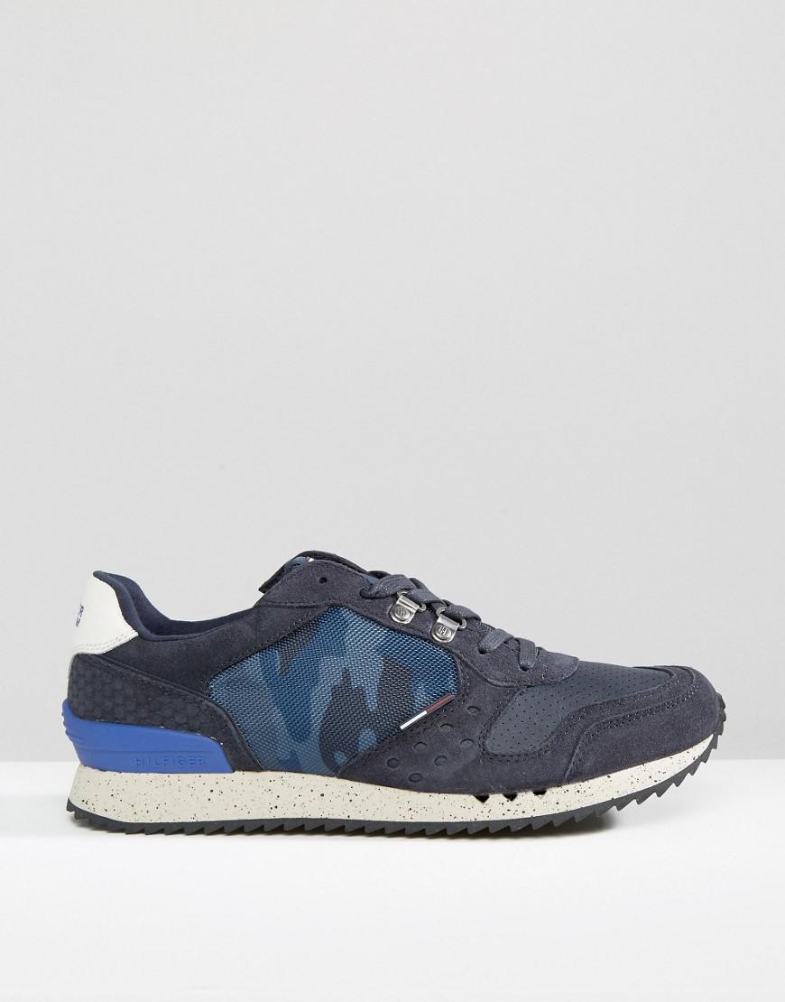 6dd3dd466222a Tommy Hilfiger Hilfiger Denim Barton Camo Runner Sneakers in Blue ...
