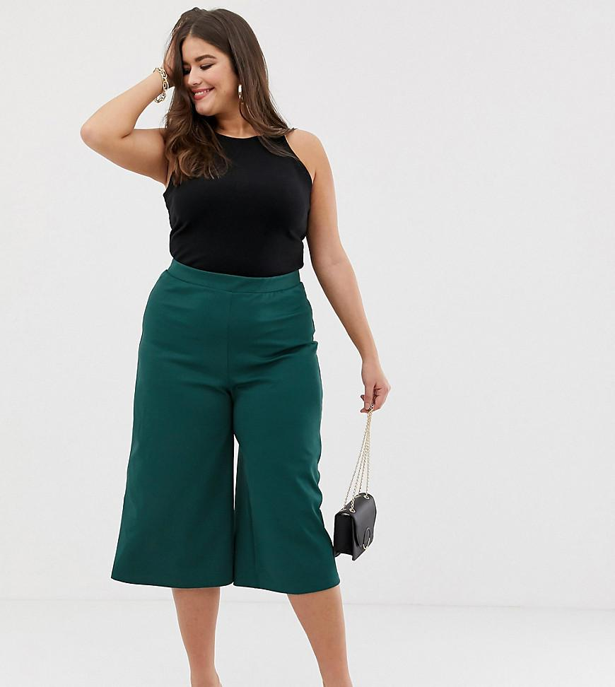 ASOS Asos Design Curve Wide Leg Cropped Trouser In Textured Jersey ... 83025296ad