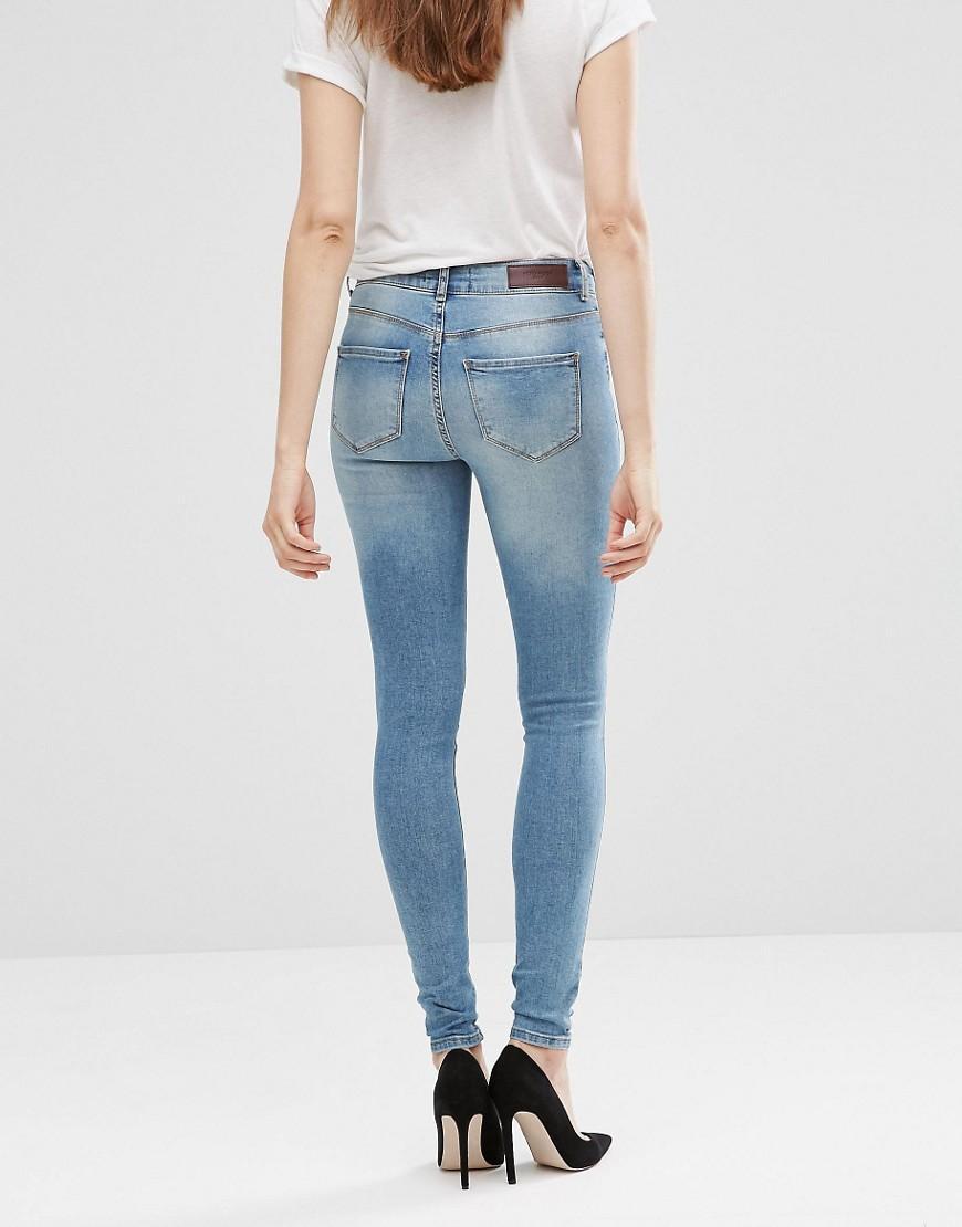 lyst vero moda seven super slim jeans in blue. Black Bedroom Furniture Sets. Home Design Ideas