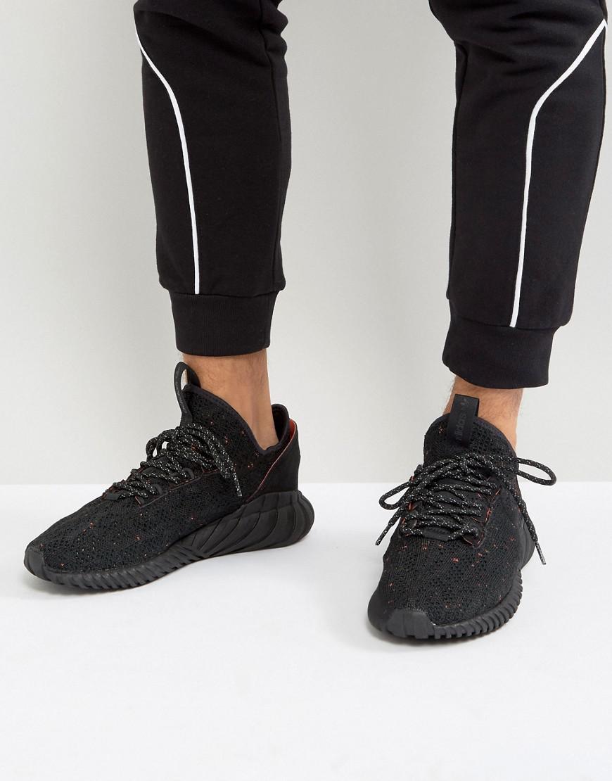 c3fa593225cb0 Adidas Originals Tubular Doom Sock Primeknit Sneakers In Black ...