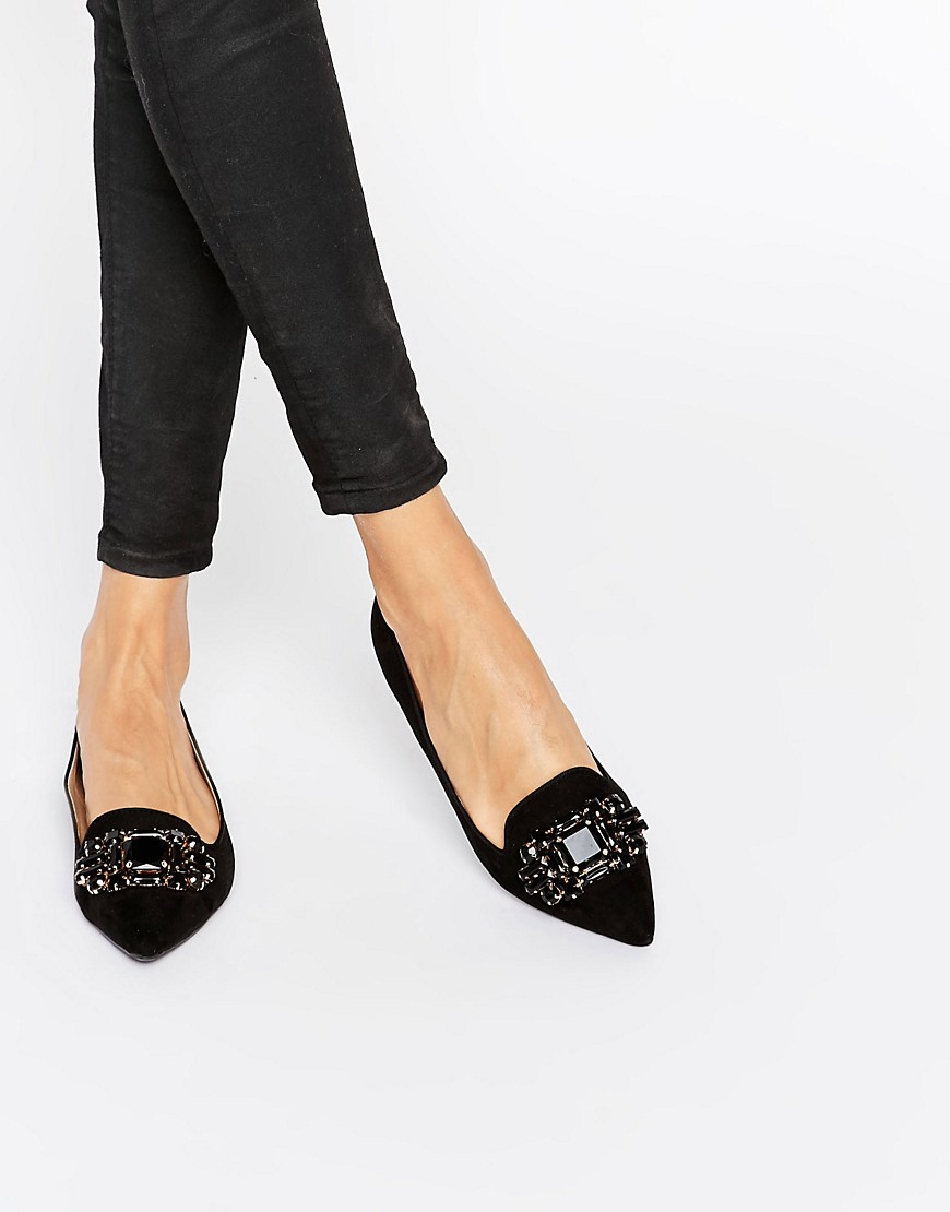 b519ac1fe87 Dune By Dune Lou Lou Embellished Pointed Flat Shoes in Black - Lyst