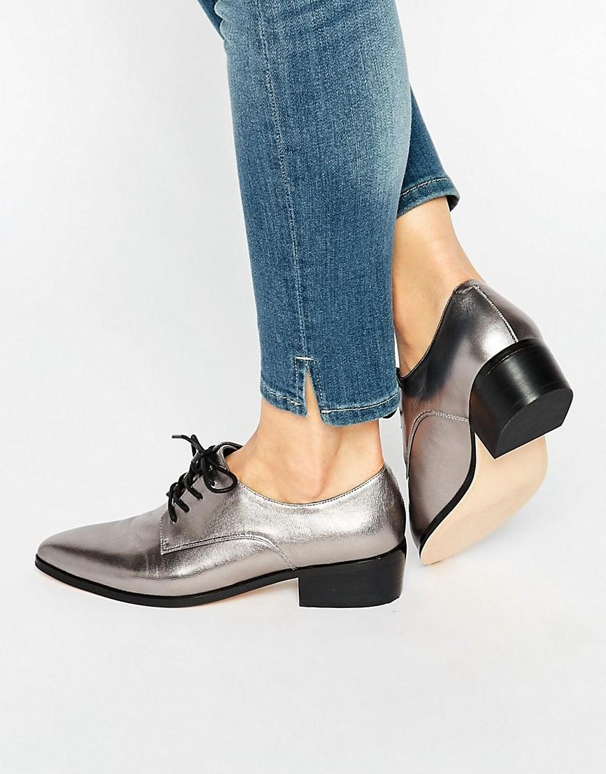 Lyst Dune Loris Silver Metallic Leather Lace Up Flat