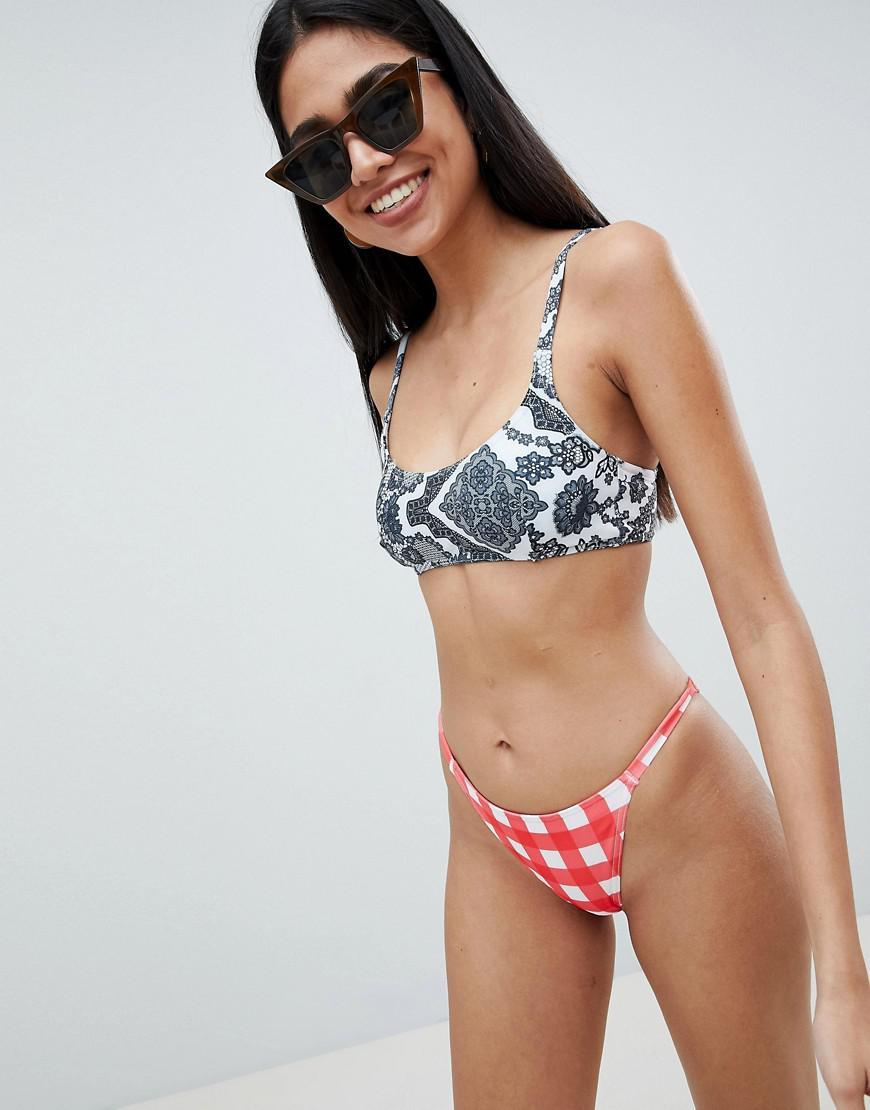 fbe7ecd7cb9cb ASOS. Women's Mono Lace Contrast Mixed Print Skinny Crop Bikini Top
