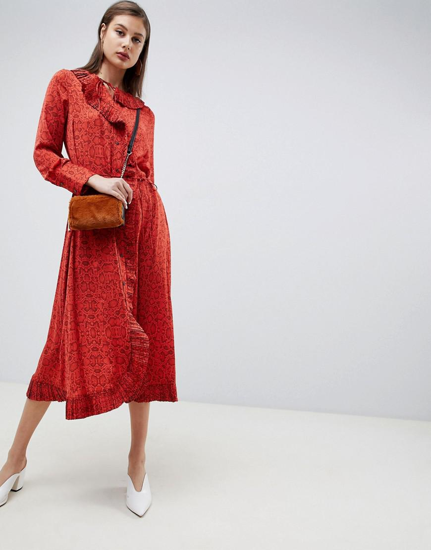 7e374b6f546c Mango Snake Print Wrap Dress With Pleat Detail in Red - Lyst