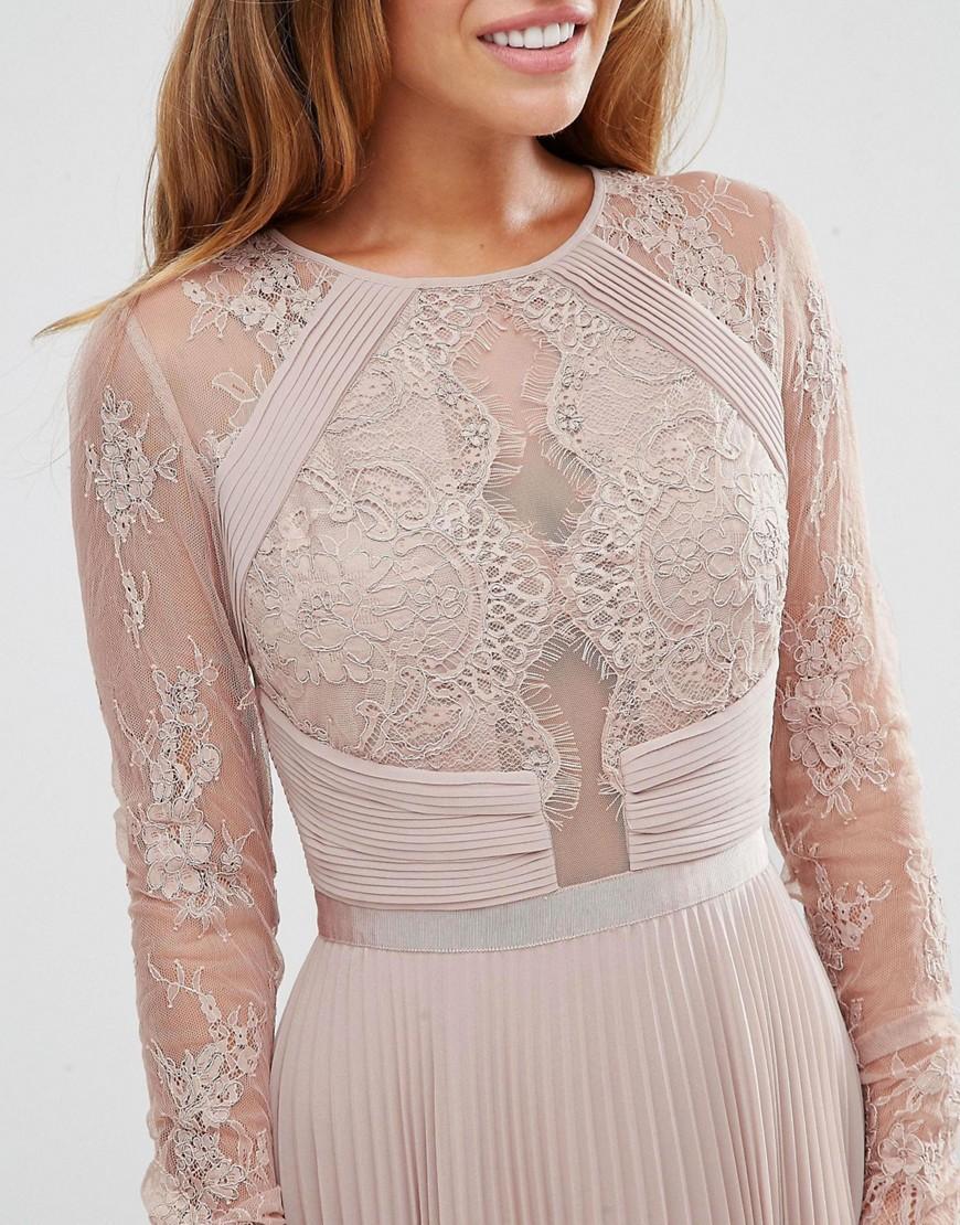 9b1c91883a85 ASOS Wedding Pretty Lace Eyelash Pleated Midi Dress in Natural - Lyst