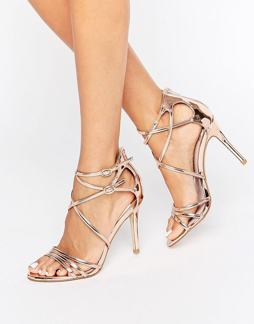 da75fc1cfc2 Faith Lizzie Rose Gold Strappy Heeled Sandals in Metallic - Lyst