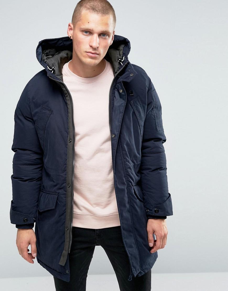 g star raw expedic hooded parka jacket in blue for men lyst. Black Bedroom Furniture Sets. Home Design Ideas
