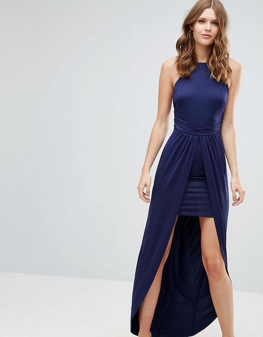 1a294acf6934 ASOS Square Neck Low Back Mini Dress With Maxi Skirt Overlay in Blue ...